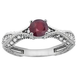 0.85 CTW Ruby & Diamond Ring 14K White Gold - REF-68H3M