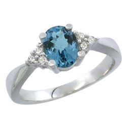 1.06 CTW London Blue Topaz & Diamond Ring 14K White Gold - REF-37M2K