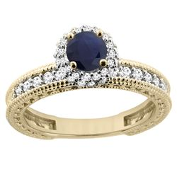 0.95 CTW Blue Sapphire & Diamond Ring 14K Yellow Gold - REF-76H5M