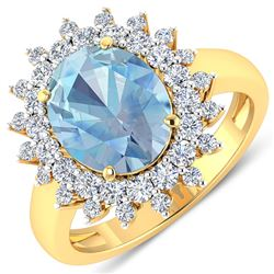Natural 3.49 CTW Aquamarine & Diamond Ring 14K Yellow Gold - REF-135H5M