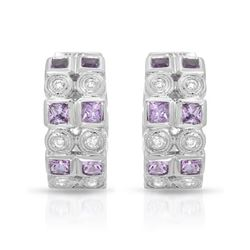 Natural 1.38 CTW Pink Sapphire & Diamond Earrings 18K White Gold - REF-112R5K