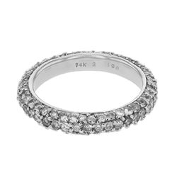 Natural 1.98 CTW Diamond Band Ring 14K White Gold - REF-126X2T