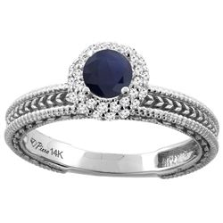 0.85 CTW Blue Sapphire & Diamond Ring 14K White Gold - REF-63R9H