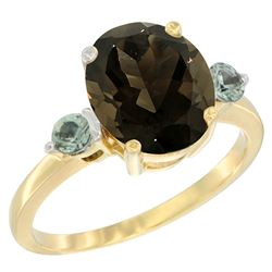 2.64 CTW Quartz & Green Sapphire Ring 14K Yellow Gold - REF-32F3N