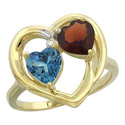 2.61 CTW Diamond, London Blue Topaz & Garnet Ring 14K Yellow Gold - REF-34W2F