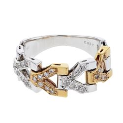 Natural 0.27 CTW Diamond Ring 18K Two Tone Rose Gold - REF-84H6W