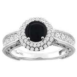 1.14 CTW Onyx & Diamond Ring 14K White Gold - REF-91X3M