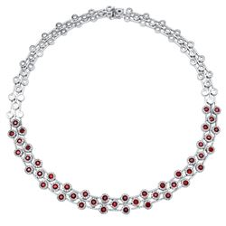 Natural 12.69 CTW Ruby & Diamond Necklace 14K White Gold - REF-768Y6N