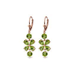 Genuine 5.32 ctw Peridot Earrings 14KT Rose Gold - REF-50V3W