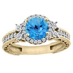 1.46 CTW Swiss Blue Topaz & Diamond Ring 14K Yellow Gold - REF-77A6X
