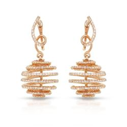 Natural 1.58 CTW Diamond Earrings 14K Rose Gold - REF-123H3W