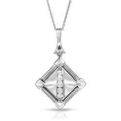 Natural 0.25 CTW Diamond Necklace 18K White Gold - REF-99X9T
