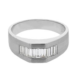 Natural 1.03 CTW Baguette Ring 14K White Gold - REF-259X2T