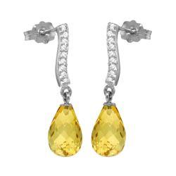Genuine 4.78 ctw Citrine & Diamond Earrings 14KT White Gold - REF-46P2H