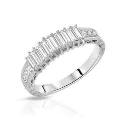 Natural 0.91 CTW Baguette & Diamond Band Ring Platinum - REF-190R8K