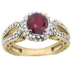 1.55 CTW Ruby & Diamond Ring 14K Yellow Gold - REF-87H5M