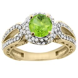 1.25 CTW Peridot & Diamond Ring 14K Yellow Gold - REF-86M7A