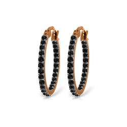 Genuine 0.81 ctw Black Diamond Earrings 14KT Rose Gold - REF-97P2H