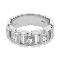Natural 0.43 CTW Princess Diamond Ring 14K White Gold - REF-144Y9N
