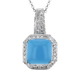 Natural 6.54 CTW Turquoise & Diamond Necklace 14K White Gold - REF-86H4W