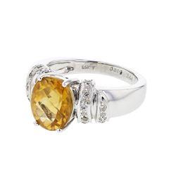 Natural 2.85 CTW Ctirine & Diamond Ring 14K White Gold - REF-55Y8N