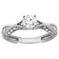 0.75 CTW Diamond Ring 14K White Gold - REF-169V3R