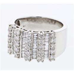 Natural 1.64 CTW Diamond & Baguette Ring 18K White Gold - REF-261M2F