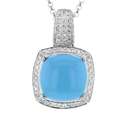 Natural 10.61 CTW Turquoise & Diamond Necklace 14K White Gold - REF-167H4W