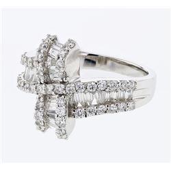 Natural 1.29 CTW Diamond & Baguette Ring 18K White Gold - REF-181R8K