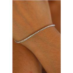 Natural 2.02 ctw Diamond Eternity Tennis Bracelet 18K White Gold - REF-150F3N