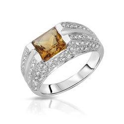 Natural 2.07 CTW Citrine & Diamond Ring 18K White Gold - REF-98R3K