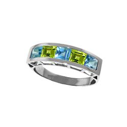 Genuine 2.25 ctw Blue Topaz & Peridot Ring 14KT White Gold - REF-54Y2F