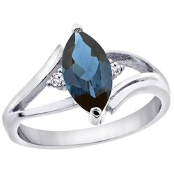1.24 CTW London Blue Topaz & Diamond Ring 10K White Gold - REF-23A3X