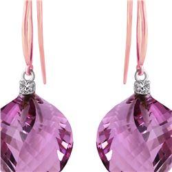 Genuine 21.6 ctw Amethyst & Diamond Earrings 14KT Rose Gold - REF-49Y8F