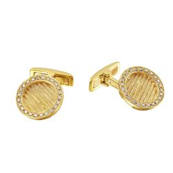 Natural 0.46 CTW Diamond Cuff Links 18K Yellow Gold - REF-161H3W