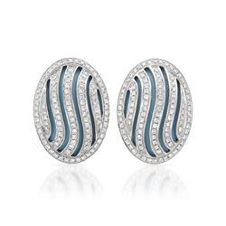 Natural 12.27 CTW Turquoise & Diamond Earrings 14K White Gold - REF-111M6F