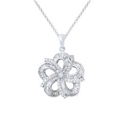 Natural 1.08 CTW Diamond & Baguette Necklace 14K White Gold - REF-142Y2N