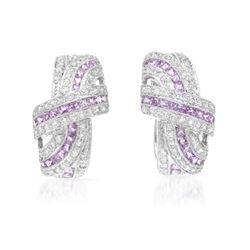 Natural 2.93 CTW Pink Sapphire & Diamond Earrings 18K White Gold - REF-215H3W