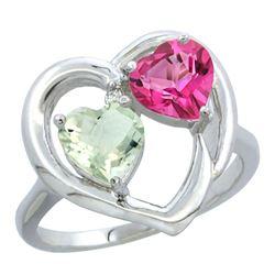 2.61 CTW Diamond, Amethyst & Pink Topaz Ring 14K White Gold - REF-33A9X