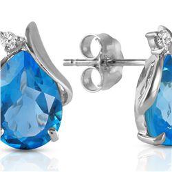 Genuine 5.06 ctw Blue Topaz & Diamond Earrings 14KT White Gold - REF-46T7A