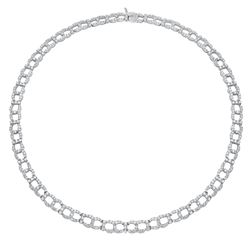 Natural 10.46 CTW Diamond Necklace 18K White Gold - REF-1196H3W