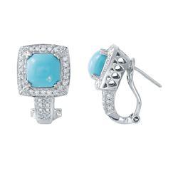 Natural 3.10 CTW Turquoise & Diamond Earrings 14K White Gold - REF-77X4T