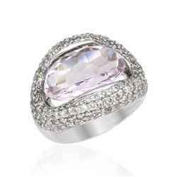 Natural 8.65 CTW Amethyst & Diamond Ring 18K White Gold - REF-159M3F