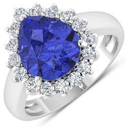 Natural 3.73 CTW Tanzanite & Diamond Ring 14K White Gold - REF-121R7F