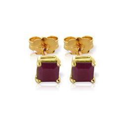 Genuine 0.80 ctw Ruby Earrings 14KT Yellow Gold - REF-20V7W