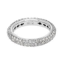 Natural 1.15 CTW Diamond Band Ring 14K White Gold - REF-90H2W