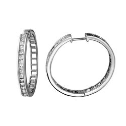Natural 1.77 CTW Princess Diamond Earrings 14K White Gold - REF-270R9K