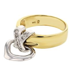 Natural 0.18 CTW Diamond Ring 14K Two Tone Yellow Gold - REF-52Y2N