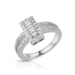 Natural 0.45 CTW Diamond Ring 18K White Gold - REF-110M7F
