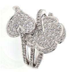 Natural 1.19 CTW Diamond Ring 14K White Gold - REF-137R7K